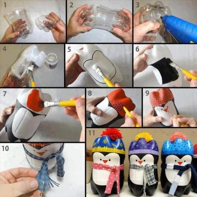 Decoratiuni ieftine pentru Craciun din sticle reciclate